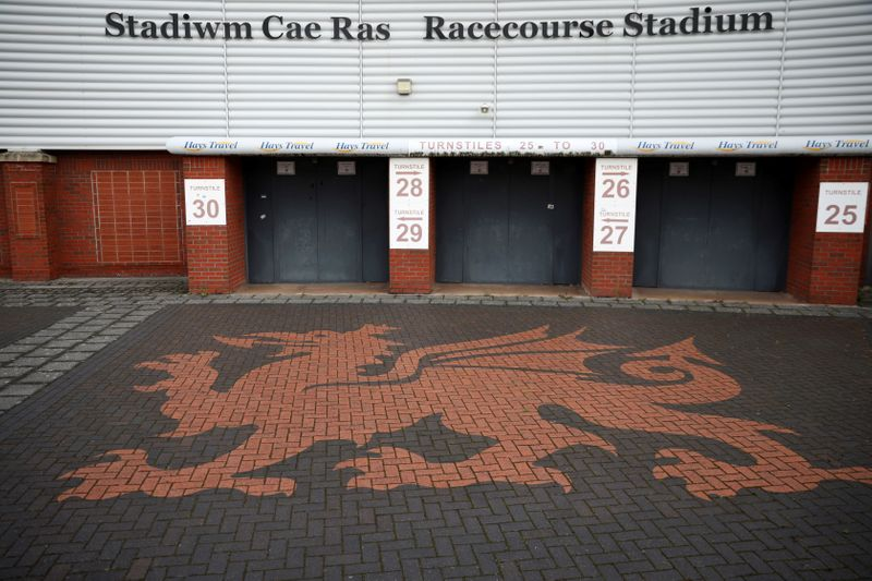 A general view of The Racecourse stadium, the home of Wrexham Football Club, in Wrexham, Britain
