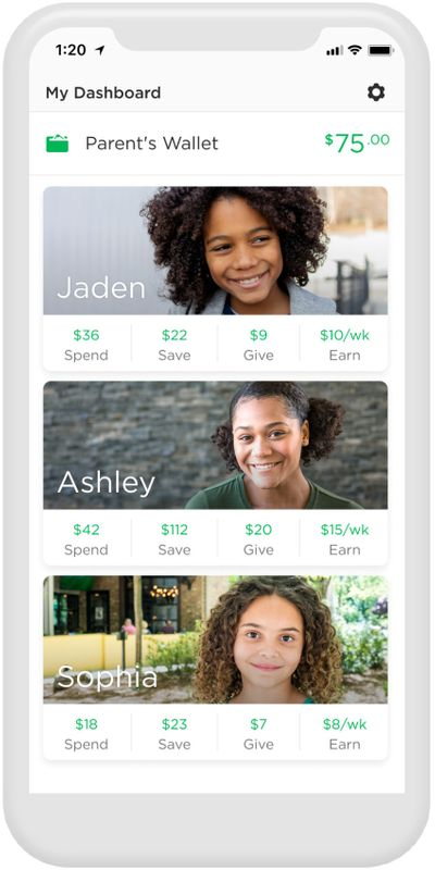 An undated handout photo shows the BuildforFamilies app screen, provided by Greenlight Financial Technology