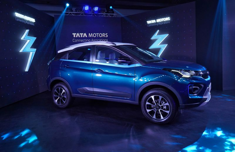 FILE PHOTO: Tata Motors' electric sport-utility vehicle (SUV) Nexon EV is displayed during its launch in Mumbai
