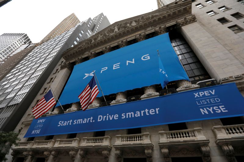 FILE PHOTO: Banner announcing XPeng Inc. at New York Stock Exchange (NYSE) ahead of the Chinese company's IPO in New York