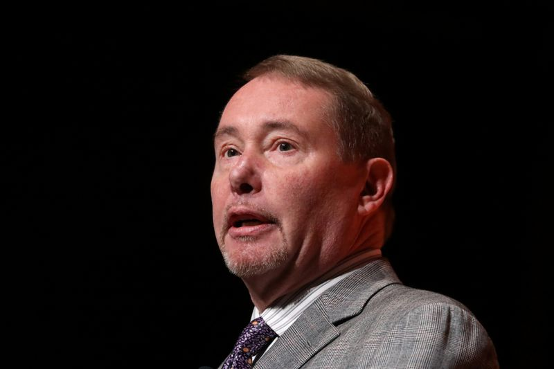 Jeffrey Gundlach, CEO of DoubleLine Capital LP, presents during the 2019 Sohn Investment Conference in New York