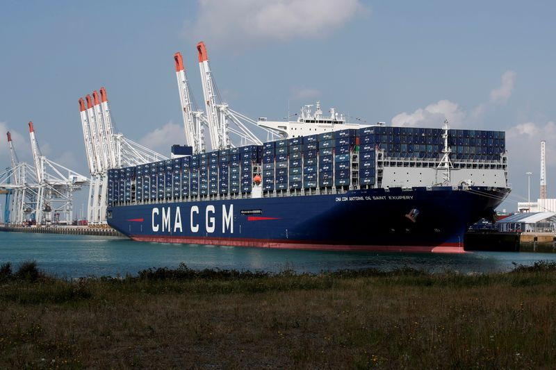 FILE PHOTO: The CMA CGM Antoine de Saint Exupery container ship sits docked during its official inauguration in Le Havre
