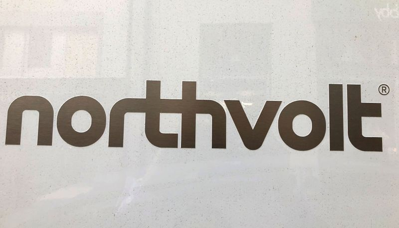 Northvolt logo is pictured in the Northvolt office in Stockholm