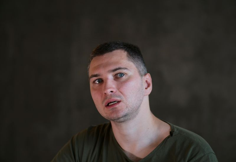 Belarusian software engineer Max Korolevsky speaks during an interview in Kyiv