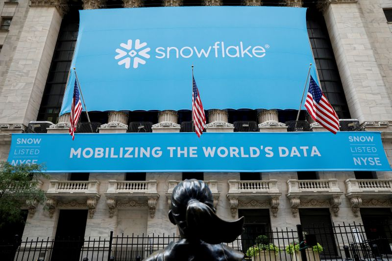 FILE PHOTO: A banner for Snowflake Inc. is displayed celebrating the company's IPO at the NYSE in New York