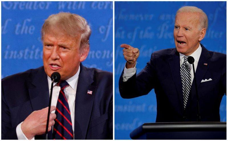 A combination picture shows U.S. President Donald Trump and Democratic presidential nominee Joe Biden during the first 2020 presidential campaign debate, in Cleveland