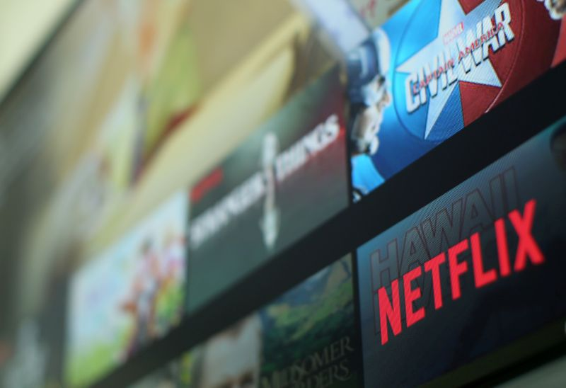 FILE PHOTO: The Netflix logo is pictured on a tevevison in this illustration photograph taken in Encinitas, California