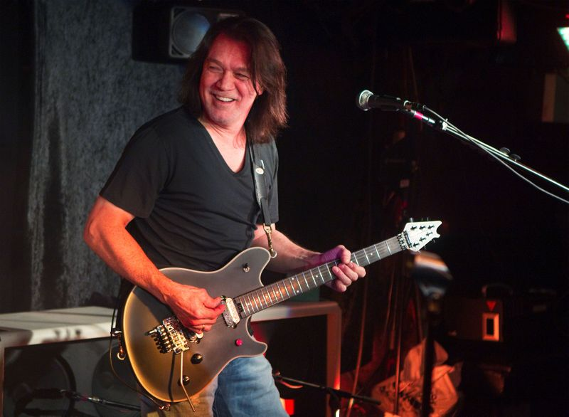 FILE PHOTO: Guitarist Eddie Van Halen performs during a private Van Halen show to announce the band's upcoming tour at Cafe Wha? in New York