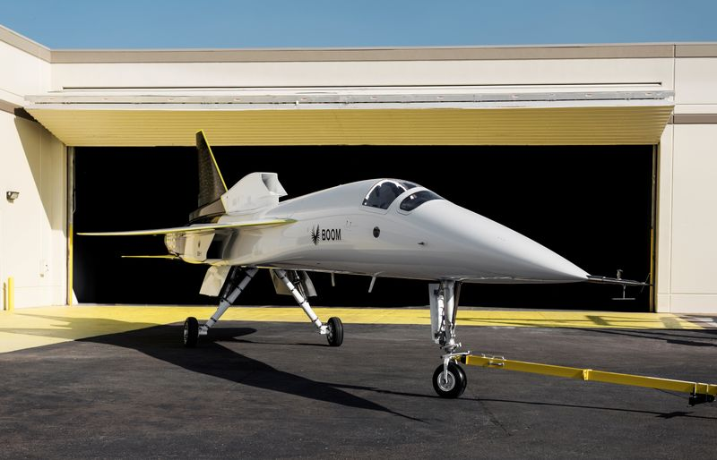 Boom Supersonic's demonstrator aircraft XB-1 is seen parked at a hangar in Denver