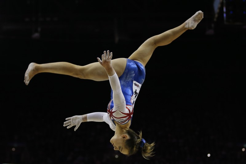 Amy Tinkler of Great Britain in action on the Beam