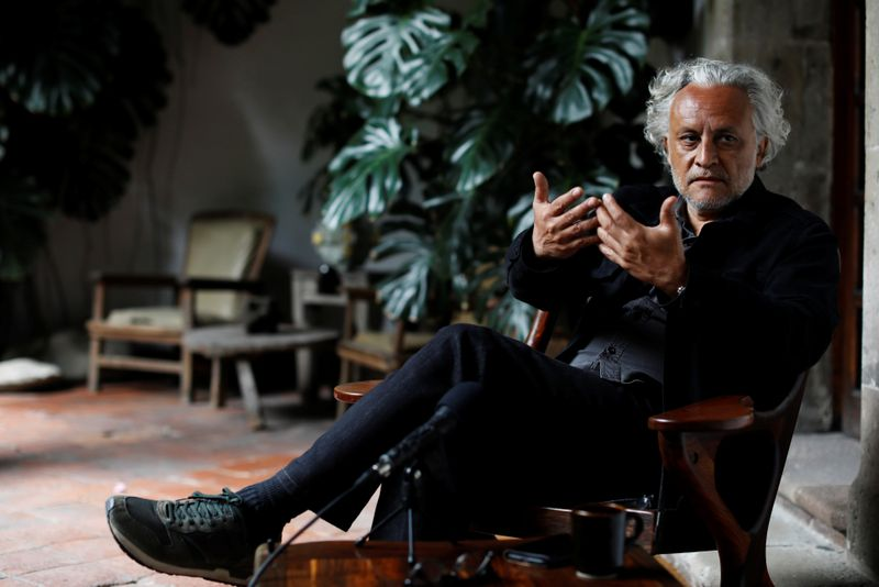 Mexican artist, Gabriel Orozco, gestures during an interview with Reuters in Mexico City,