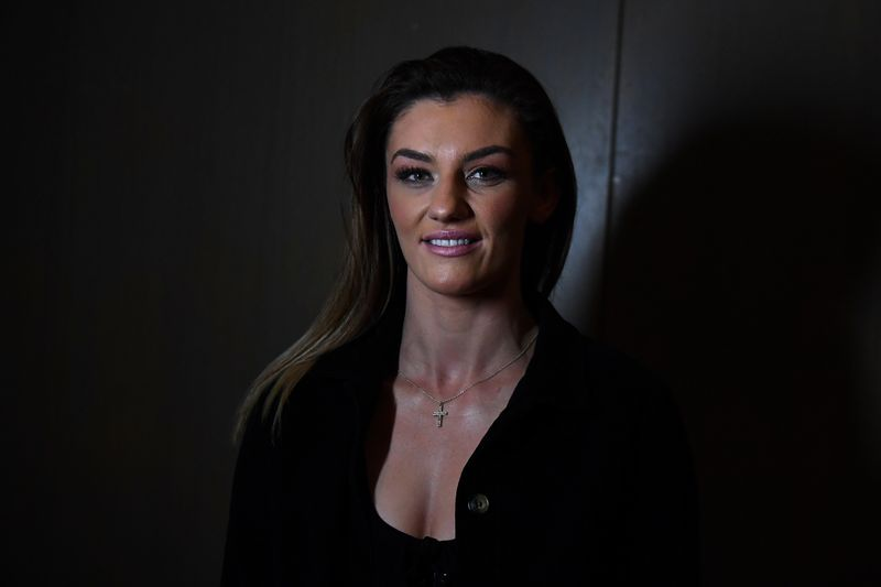 FILE PHOTO: Mixed Martial Arts fighter Leah McCourt poses for a photograph at a Bellator MMA fight week media event in Dublin