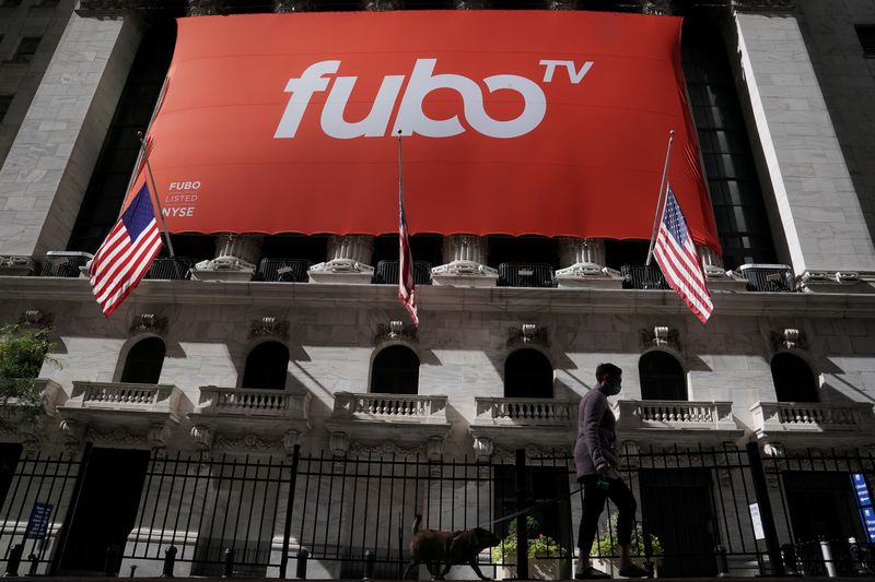 The fuboTV logo is hung from the New York Stock Exchange on the day of its IPO