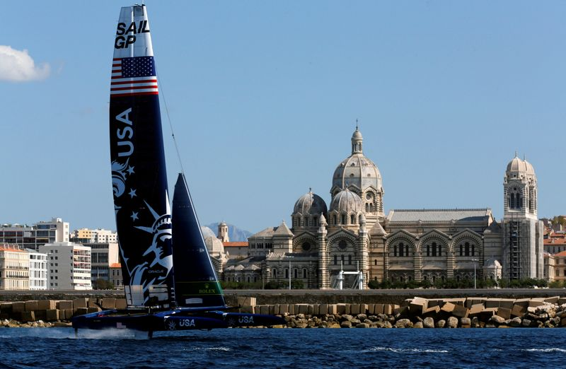 FILE PHOTO: United States SailGP Team sail during the day one of the SailGP event in Marseille