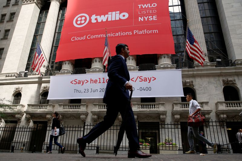 A banner for communications software provider Twilio Inc., hangs on the facade at the NYSE to celebrate the company's IPO in New York City
