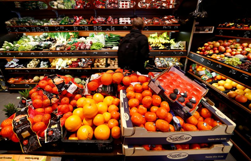FILE PHOTO: Full shelves with fruits are pictured in a supermarket during the spread of the coronavirus disease (COVID-19) in Berlin