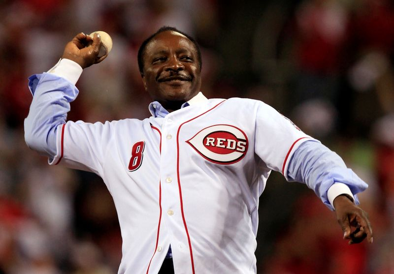 FILE PHOTO: Cincinnati Reds great Morgan throws out the ceremonial first pitch before the Reds take on the Philadelphia Phillies in Cincinnati