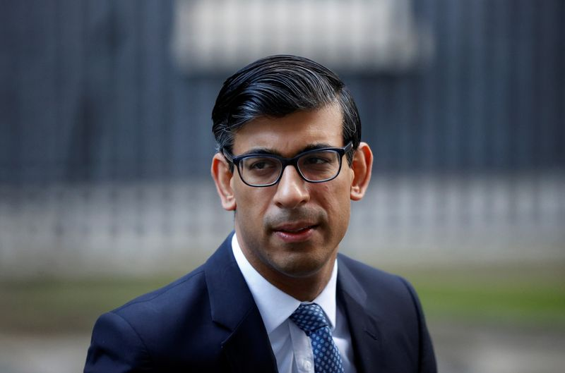 Britain's Chancellor of the Exchequer Rishi Sunak leaves Downing Street, in London