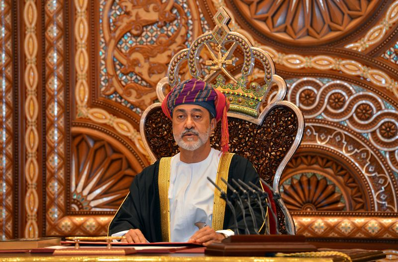 FILE PHOTO: Sultan Haitham bin Tariq al-Said gives a speech after being sworn in, in Muscat