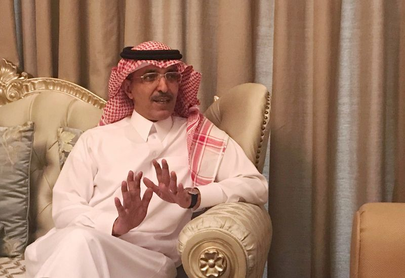 FILE PHOTO: Saudi Minister of Finance Mohammed al-Jadaan speaks during an interview with Reuters at the Four Seasons hotel in Riyadh