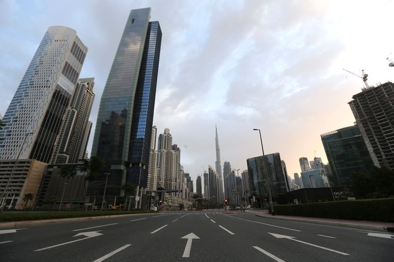 General view of Business Bay area, after a curfew was imposed to prevent the spread of the coronavirus disease (COVID-19), in Dubai