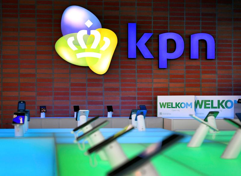 FILE PHOTO: KPN logo is seen at its headquarters in Rotterdam