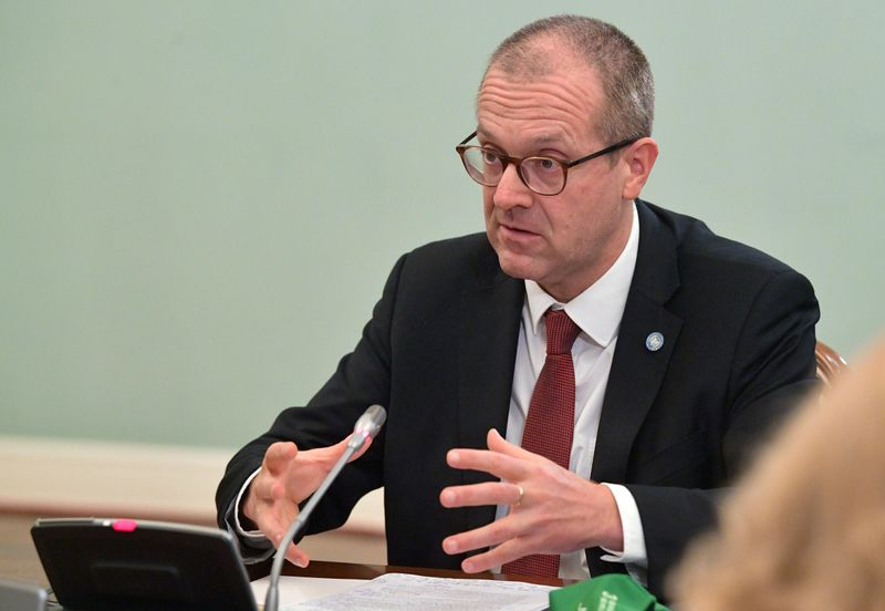 Hans Kluge, World Health Organization regional director for Europe, attends a meeting with Russian Prime Minister Mikhail Mishustin in Moscow