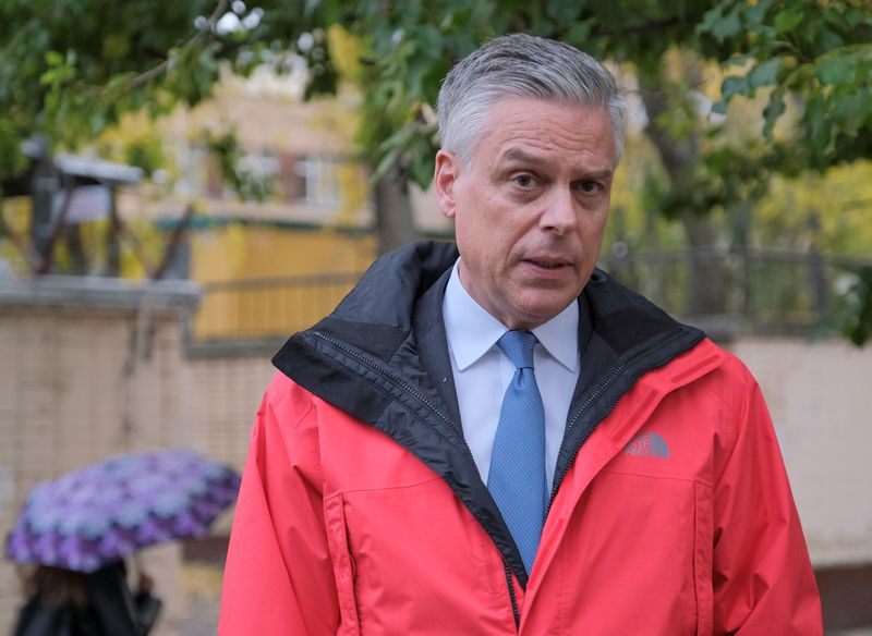 U.S. ambassador to Russia Huntsman speaks outside Lefortovo prison after visiting former U.S. Marine Whelan, who was detained and accused of espionage, in Moscow