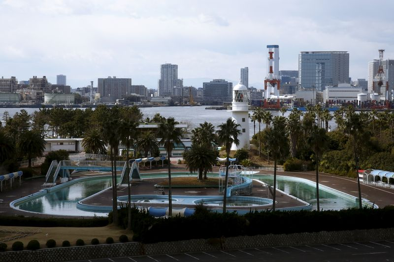 A general view shows the outdoor pool at Museum of Maritime Science with Tokyo's skyline in the background