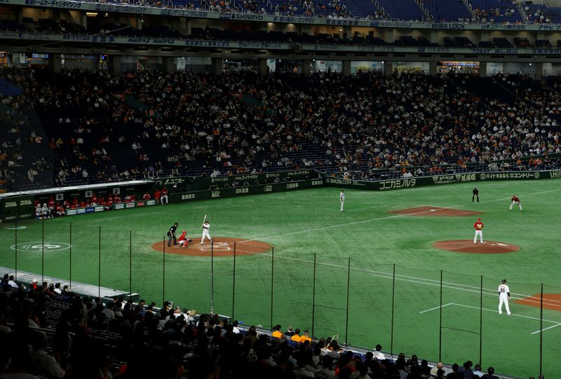 Nippon Professional Baseball Game between Yomiuri Giants and Hiroshima Carp in Tokyo