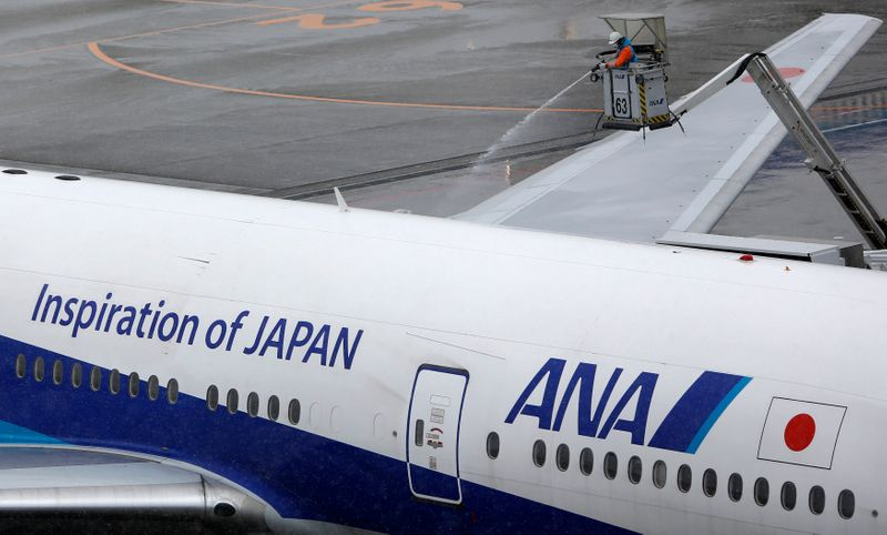 A man works near an All Nippon Airways' (ANA) air plane parked at Haneda airport in Tokyo