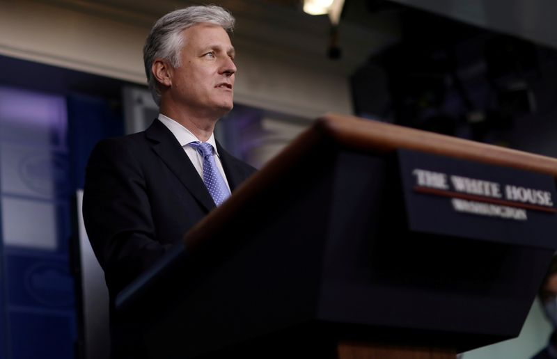 FILE PHOTO: National Security Adviser Robert O'Brien speaks during a news briefing at the White House