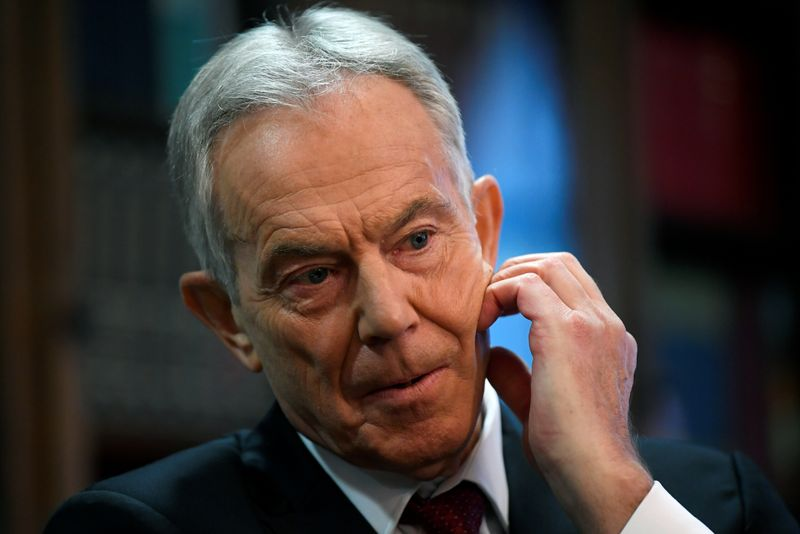FILE PHOTO: Former British Prime Minister Tony Blair speaks at the Hallam Conference Centre in London