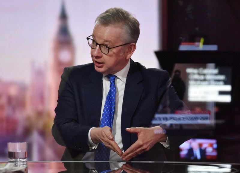 FILE PHOTO: Britain's Chancellor of the Duchy of Lancaster Michael Gove appears on BBC TV's The Andrew Marr Show in London