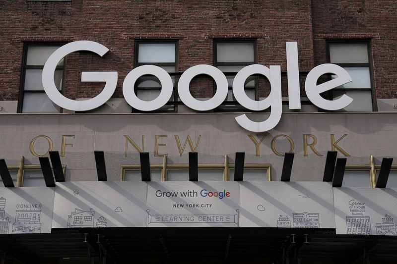 FILE PHOTO: A Google sign is pictured on a Google building