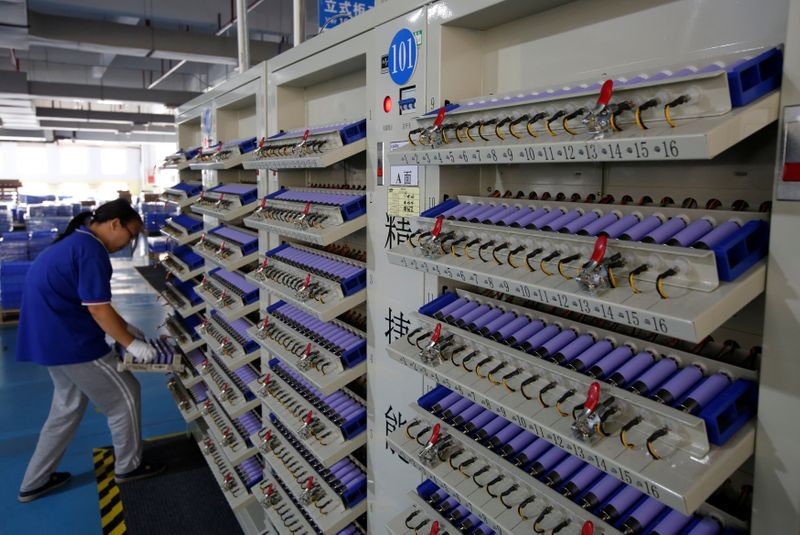 FILE PHOTO: Batteries for electric vehicles are manufactured at a factory in Dongguan