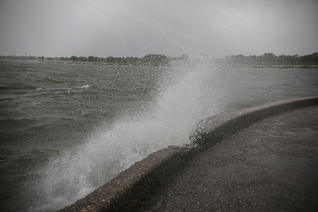 Storm surge hits the banks of Lake Pontchartrain as Hurricane Zeta makes landfall in New Orleans Louisiana