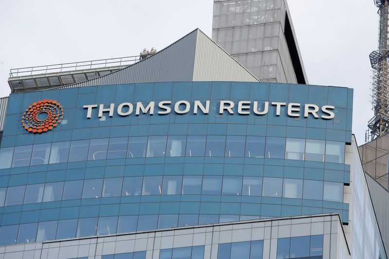 The Thomson Reuters logo is seen on the company building in Times Square, New York.