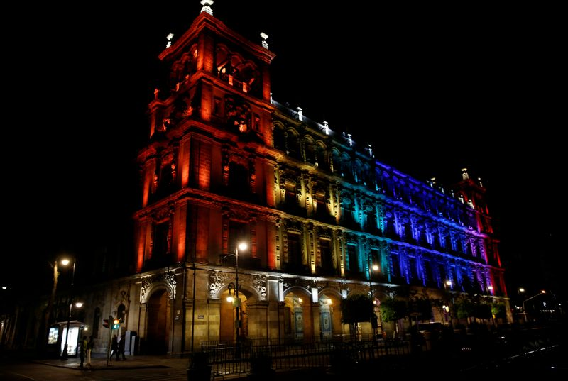 FILE PHOTO: The colors of the Pride rainbow flag symbolizing gay rights, are projected on a building, after a Gay Pride Parade, in downtown Mexico City