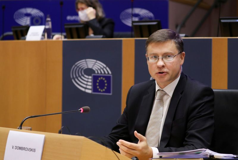 FILE PHOTO: European Commission Vice President Dombrovskis attends a hearing, in Brussels