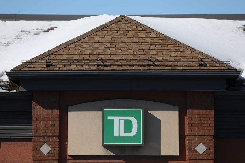 The Toronto-Dominion bank logo is seen outside of a branch in Ottawa
