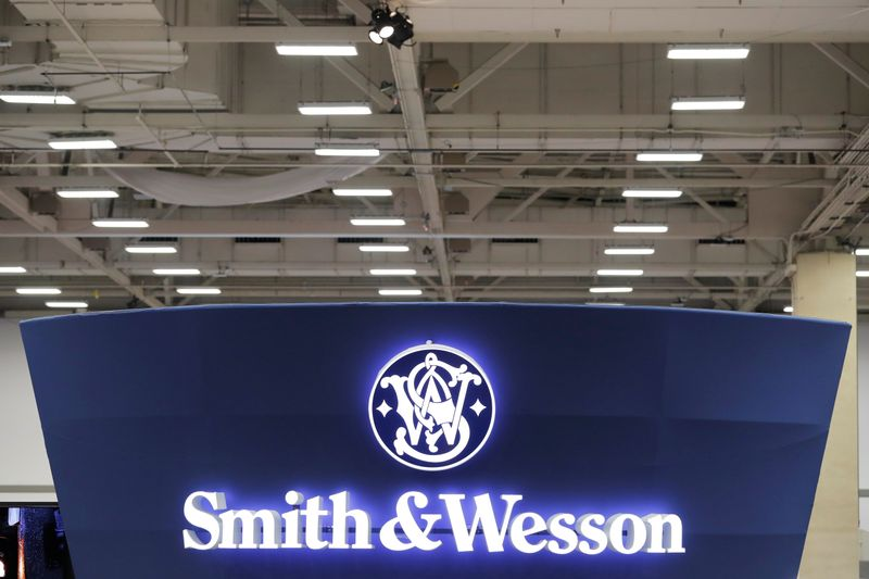 A Smith & Wesson logo is displayed during the annual National Rifle Association (NRA) convention in Dallas, Texas