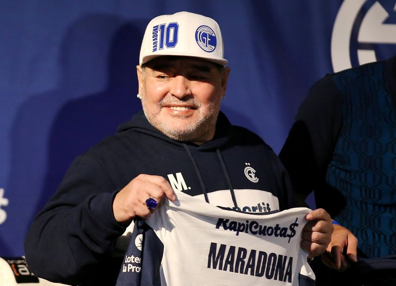 FILE PHOTO: Argentina - Diego Maradona unveiled as new Gimnasia y Esgrima de La Plata coach in 2019