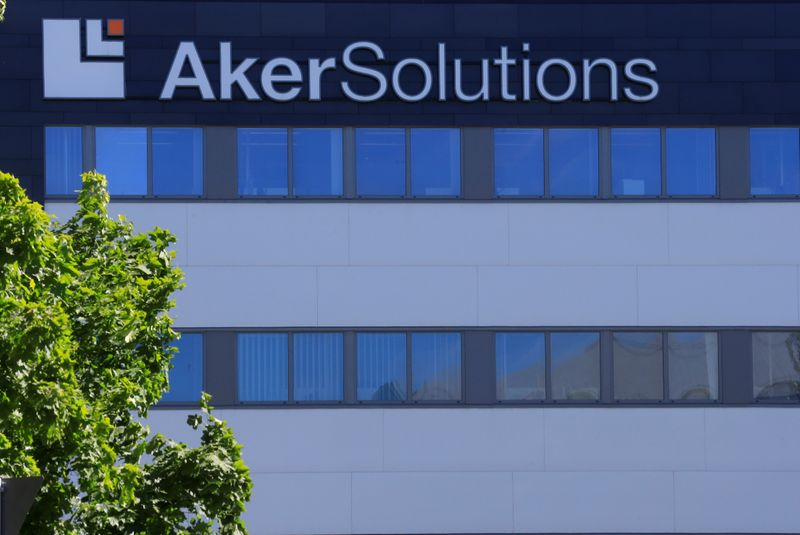 Aker Solutions oil service company's logo is seen at their headquarters in Lysaker