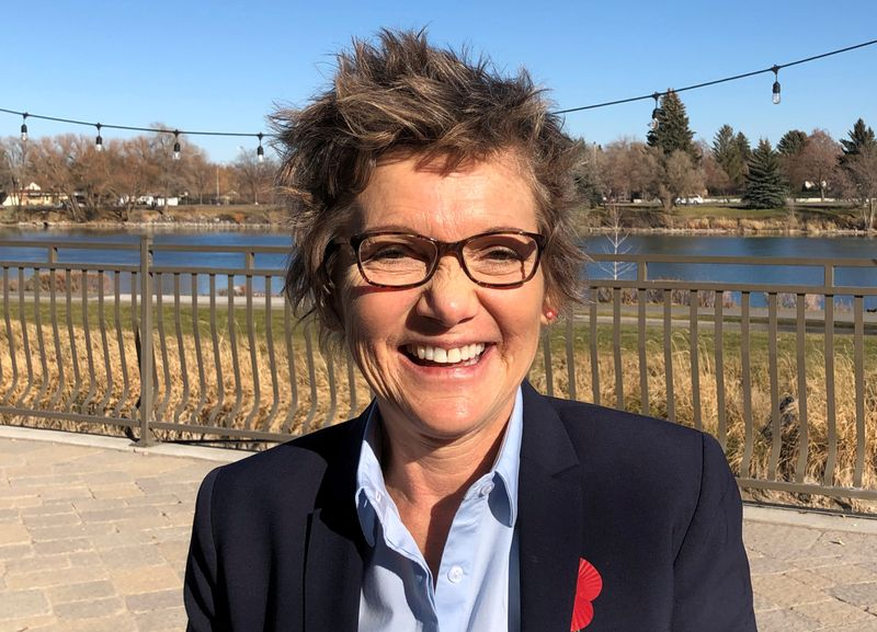 FILE PHOTO: Mary Daly, President of the Federal Reserve Bank of San Francisco, poses after giving a speech on the U.S. economic outlook, in Idaho Falls
