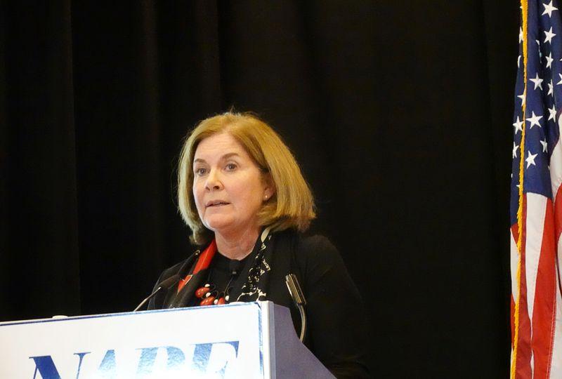 FILE PHOTO: Kansas City Federal Reserve Bank President Esther George addresses the National Association for Business Economics in Denver