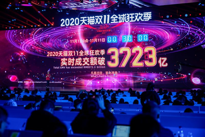 A screen shows the value of goods being transacted during Alibaba Group's Singles' Day global shopping festival, in Hangzhou