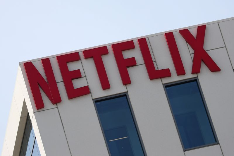 FILE PHOTO: The Netflix logo is seen on their office in Hollywood, Los Angeles