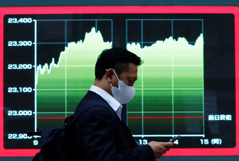 A man wearing a protective face mask walks past a screen displaying a graph showing recent Nikkei share average outside a brokerage, amid the coronavirus disease (COVID-19) outbreak, in Tokyo