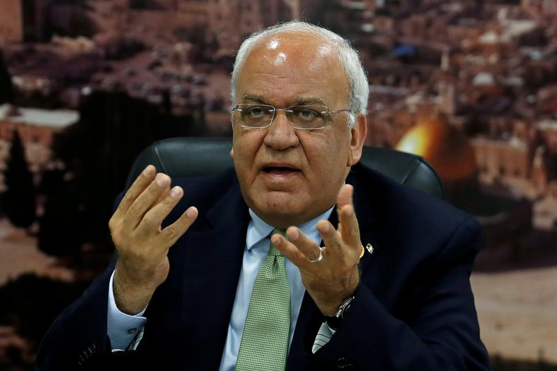 FILE PHOTO: Chief Palestinian Negotiator Saeb Erekat gestures as he speaks to the media in Ramallah, in the Israeli-occupied West Bank